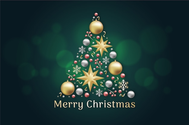Kerstboomconcept van realistische gouden decoratie wordt gemaakt die