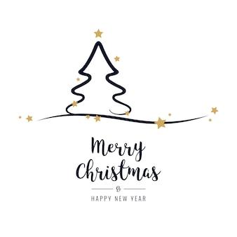 Kerstboomgroeten gouden sterren witte achtergrond