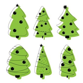 Kerstboompictogrammen die op een witte achtergrond worden geplaatst.