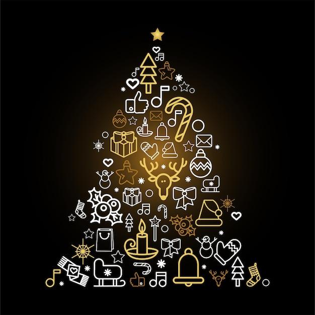Kerstboomsilhouet met vakantie lineaire pictogrammen. wenskaart dennenboom met feestelijke decoraties Premium Vector