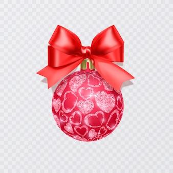 Kerstboomspeelgoed kleurrijke bal met glinsterende textuur die op witte achtergrond wordt geïsoleerd