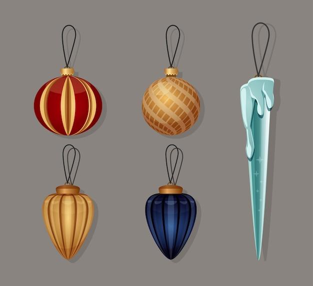 Kerstboomspeelgoedpakket vectorset glazen speelgoed voor nieuwjaar decoratie-elementen voor winterbanner