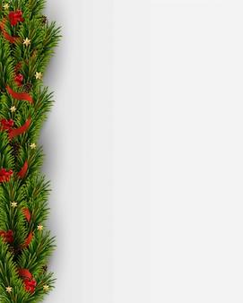 Kerstboomtakken en decoraties, dennenappels, sterren, rode strikken, lint