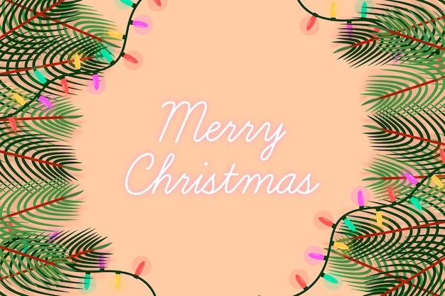 Kerstboomtakken en lichtslingers