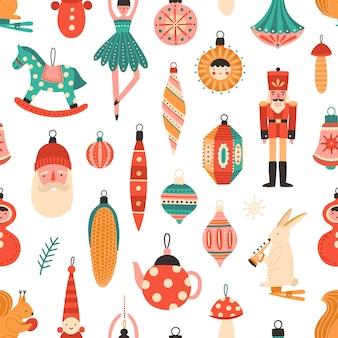 Kerstboomversieringen naadloze patroon