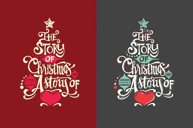 Kerstboomvorm met citaat en unieke belettering voor wenskaart en decoratie
