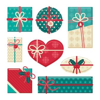 Kerstcadeau collectie in plat design