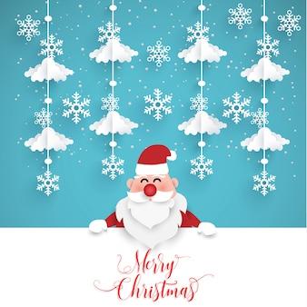 Kerstcadeau met de kerstman. papierkunstontwerp