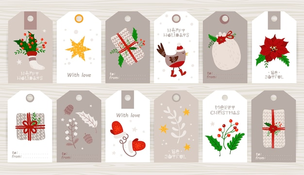 Kerstcadeaukaartje met schattige ilustration en vakantiewensen