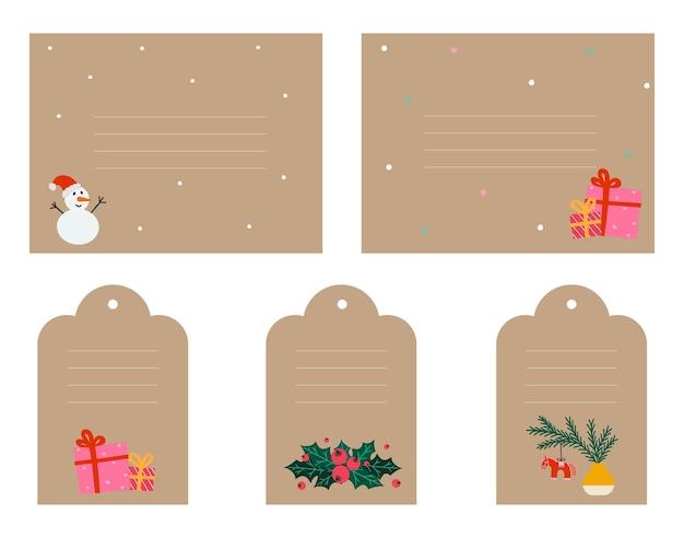 Kerstcadeaulabel in doodle-stijl. eenvoudig kraftpapier-ontwerplabel met sneeuwpop, maretak, kerstspeelgoed, geschenkdozen. handgetekende vectorillustratie geïsoleerd op wit.