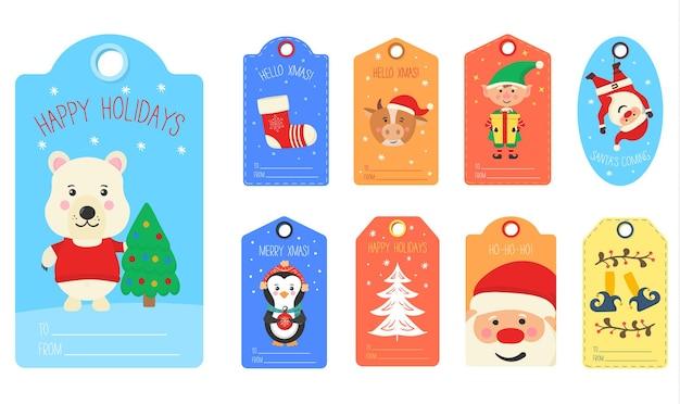 Kerstcadeaulabels met karakterkaarten van winterdieren vrolijk kerstfeest gelukkig nieuwjaar label