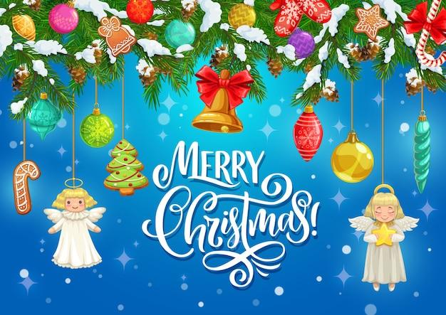 Kerstcadeaus en bel opknoping op kerstboom takken wenskaart