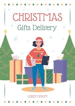 Kerstcadeaus levering poster platte sjabloon. verzend en ontvang cadeautjes. feestelijke feestdagen seizoen flyer, folder
