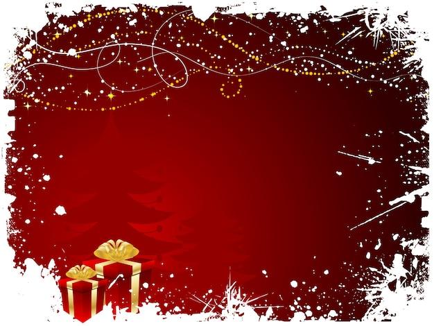 Kerstcadeaus op grunge stijl achtergrond