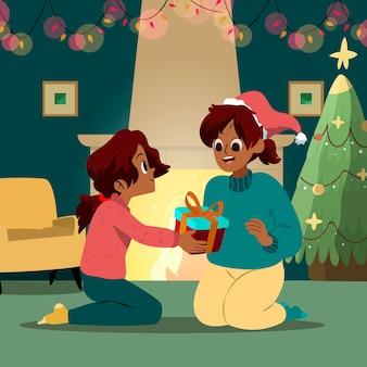 Kerstcadeaus scène