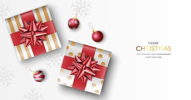 Kerstcadeaus vak achtergrond, kerstaffiche, wenskaart