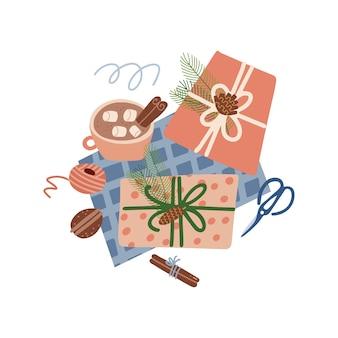 Kerstcadeaus voorbereidingsproces concept wintervakantie verrassingen inpakpapier warm bev ...