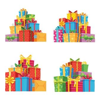 Kerstcadeautjes in geschenkverpakkingen. verjaardag presenteert geïsoleerde illustratie