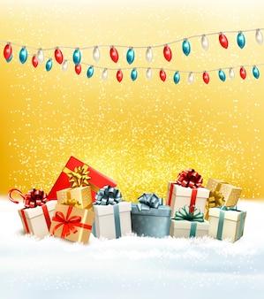Kerstcadeautjes met een krans en een geschenkdozen