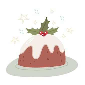 Kerstcake versierd met veenbessen. chocoladetaart, met wit glazuur. vakantievoedsel.