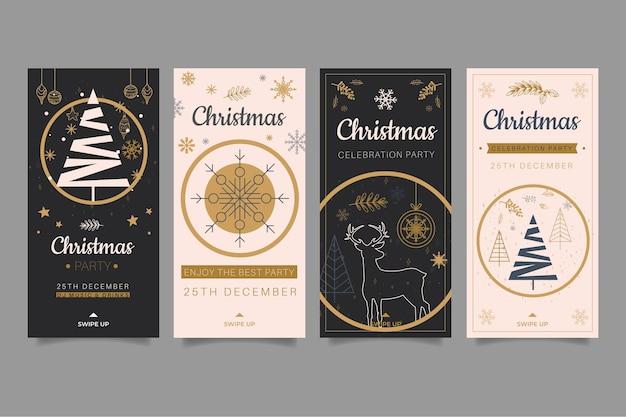 Kerstcollectie instagram verhalen Gratis Vector