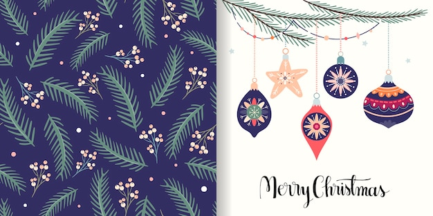 Kerstcollectie met naadloze patroon en wenskaart, winterontwerp