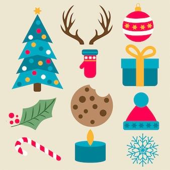 Kerstcollectie met plat ontwerp