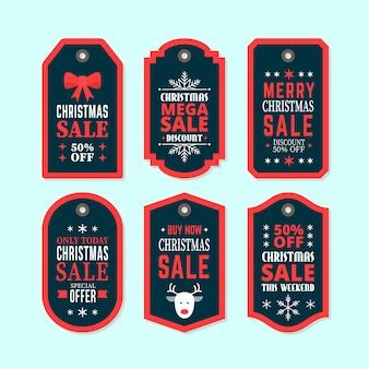 Kerstcollectie tagverkoop in plat ontwerp