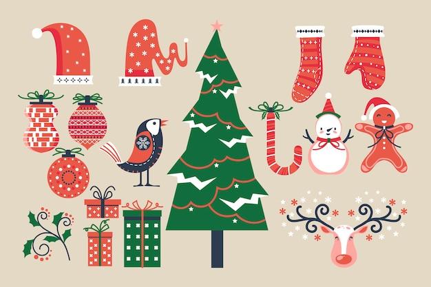 Kerstcollectie van decoratieve winterelementen