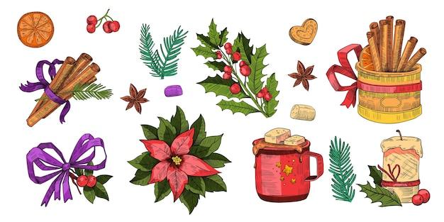 Kerstcollectie van vakantie winter elementen in vintage stijl geïsoleerd op wit gravure. kerst feestelijke set met chocolademok, marshmallow, kaneelstokjes, kerstster, hulst, kaars, spar
