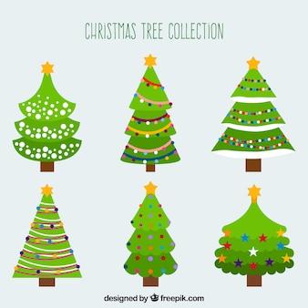 Kerstcollectie van zes gedecoreerde bomen