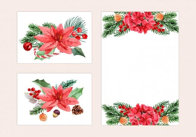 Kerstdag, aquarel schilderij voor wenskaart, briefkaart, poster
