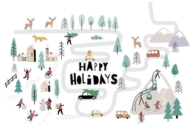 Kerstdag in dorp met mensen. vector winterlandschap buitenactiviteiten op nieuwjaar.