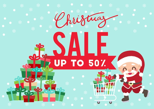 Kerstdag promotie verkoop flyer achtergrond vector