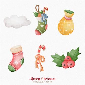 Kerstdecoratie aquarel