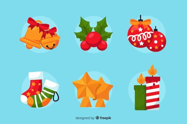 Kerstdecoratie-collectie in platte ontwerpstijl