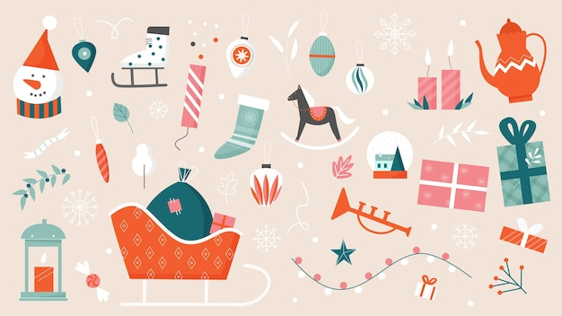 Kerstdecoratie illustratie set.