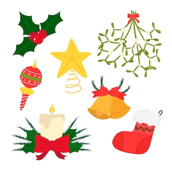 Kerstdecoratie in de hand getekende stijl