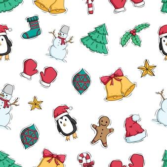 Kerstdecoratie in naadloos patroon