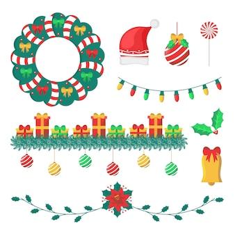 Kerstdecoratie in plat design