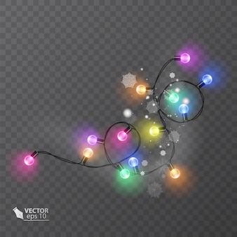 Kerstdecoratie lichteffecten ontwerpelementen gloeiende lichten voor het ontwerp van kerstkaarten