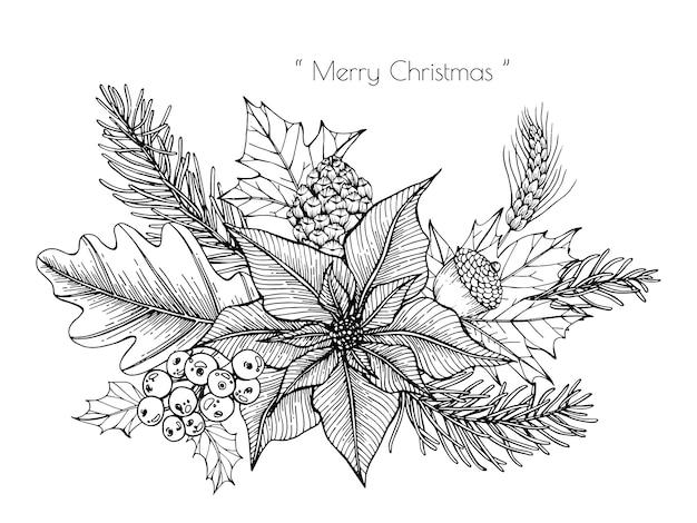 Kerstdecoratie met bloem en blad hand getrokken illustratie.