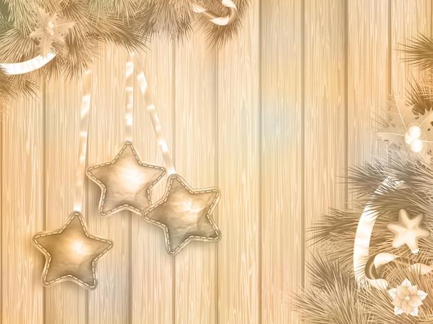 Kerstdecoratie met fir takken op wit houten bord.