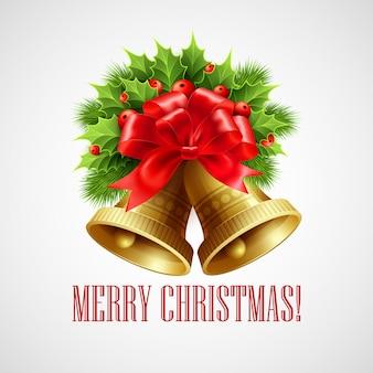Kerstdecoratie met groenblijvende bomen, hulst en klokken, wenskaart
