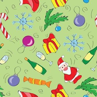 Kerstdecoratie naadloze patroon achtergrond vectorillustratie