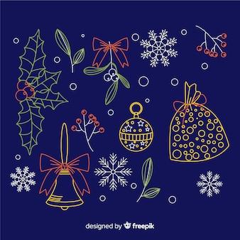 Kerstdecoratie op blauwe achtergrond hand getrokken stijl