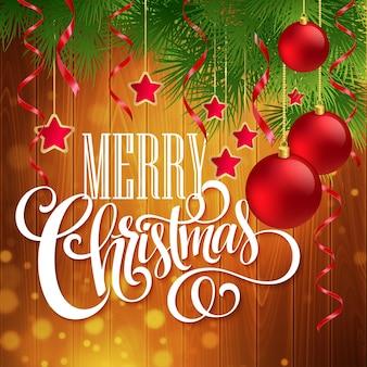 Kerstdecoratie op houten achtergrond. vectorillustratie eps10