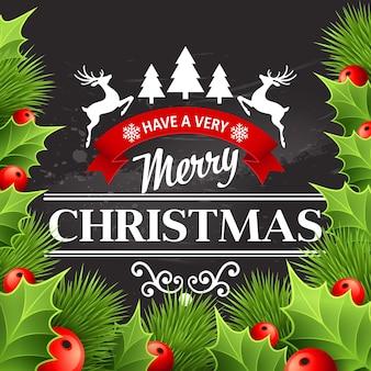 Kerstdecoratie op krijtbord. vectorillustratie eps 10