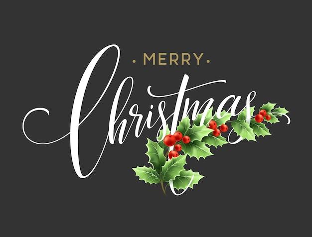 Kerstdecoratie op krijtbord. vectorillustratie eps10