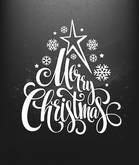 Kerstdecoratie op schoolbord met letters, wenskaart